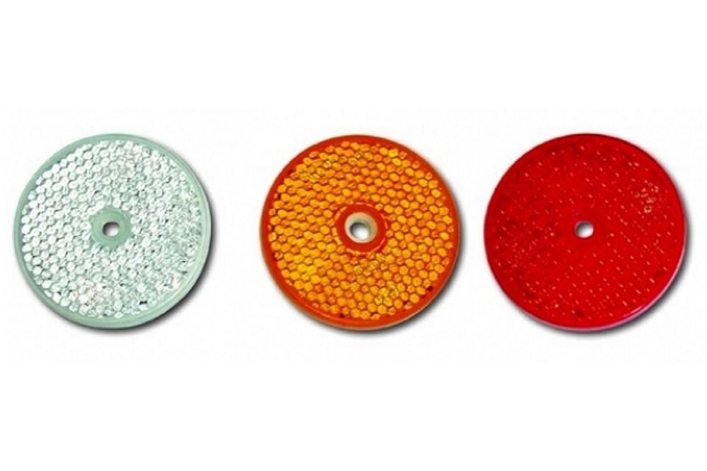 Runder Rückstrahler Ø 60 mm in weiß, orange oder rot