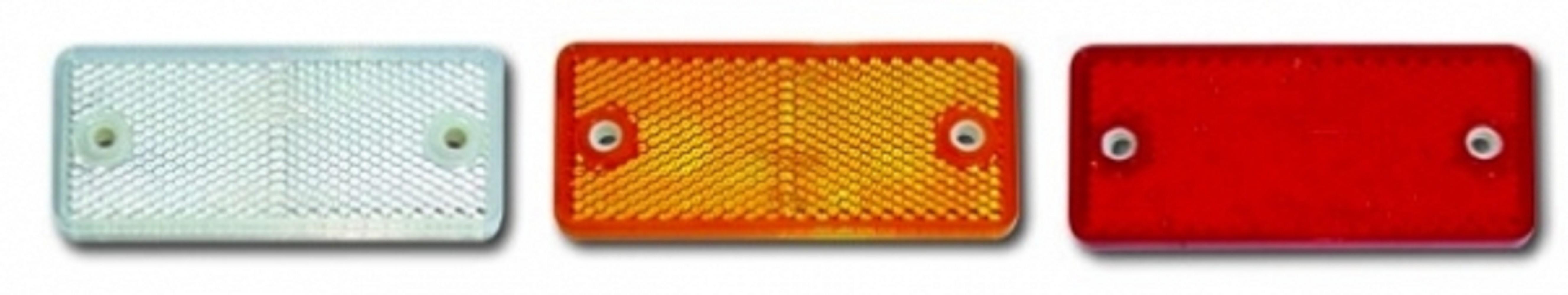 Rechteckiger Rückstrahler 90 x 40 mm in weiß, orange oder rot