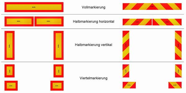 Heckmarkierung mit heckwarntafeln nach ece 70 for Gelbe tafeln