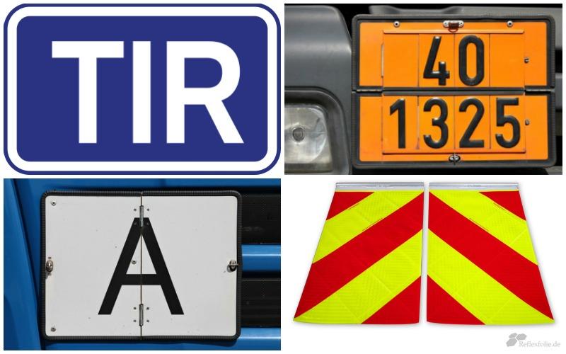 Bildcollage verschiedene Warntafeln für LKWs
