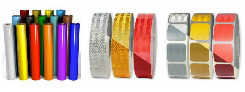 Reflexfolien in verschiedenen Größen und Farben