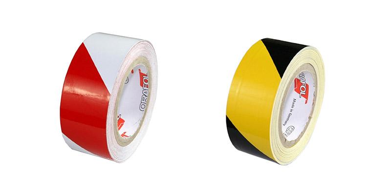 rot-weisse-und-schwarz-gelbe-Industriewarnmarkierungen