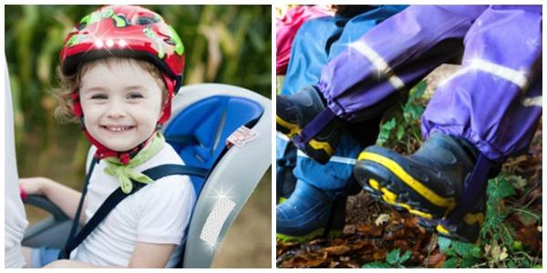 Reflexbänder auf Kinderwagen und Fahrradhelmen
