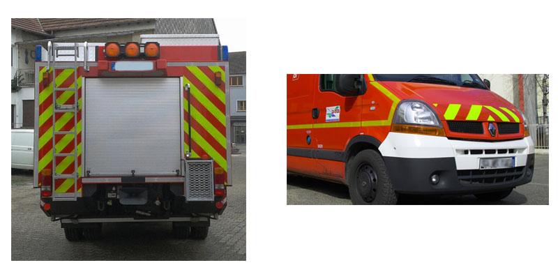Bildercollage Feuerwehrauto mit Warnmarkierung